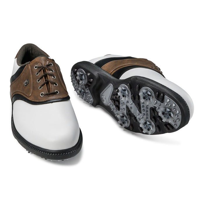 FootJoy Originals White/Dark Brown Golf Shoes - HowardsGolf