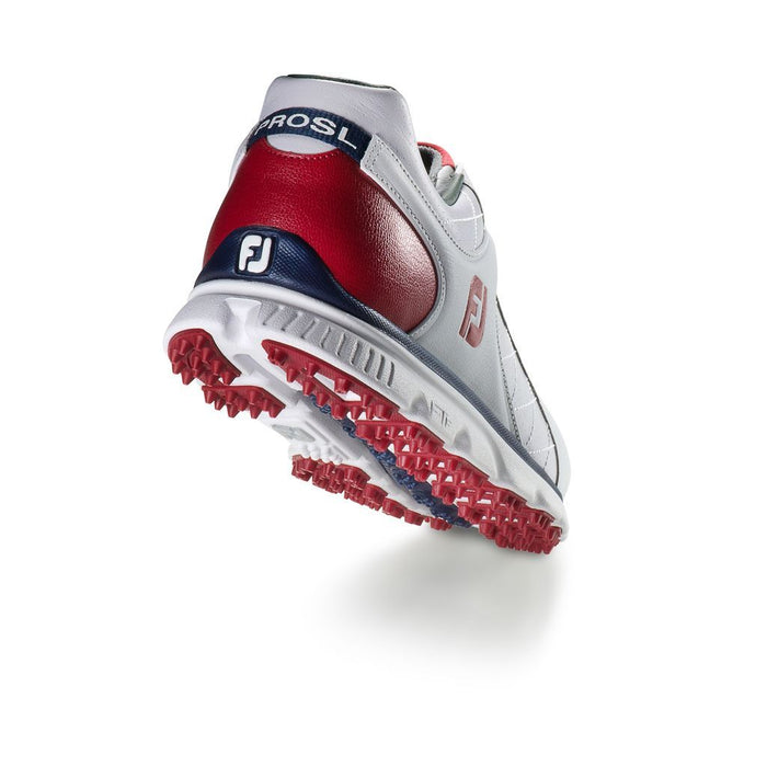 FootJoy Pro SL White/Red/Navy Golf Shoes - HowardsGolf