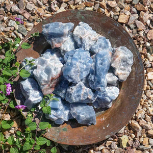 blue calcite calming crystal gem gemstone energy dirt shop rocks