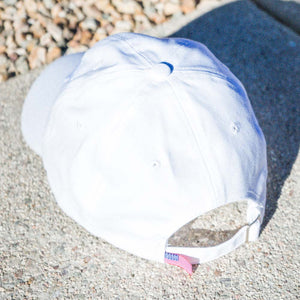 dirt shop hat made in the usa white with white embroidery