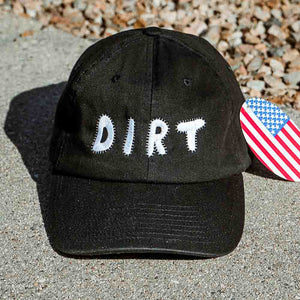 dirt shop hat made in the usa black with white embroidery