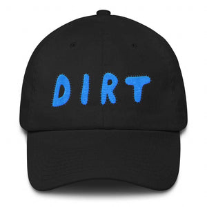 dirt shop hat made in the usa black with aqua embroidery