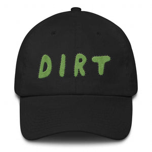 dirt shop hat made in the usa black with green embroidery