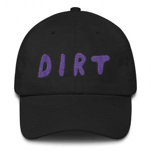 dirt shop hat made in the usa black with purple embroidery