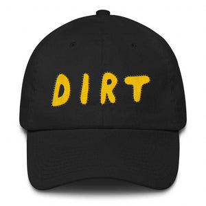 dirt shop hat made in the usa black with yellow embroidery