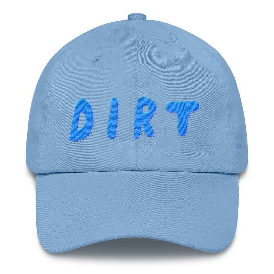 dirt shop hat made in the usa royal blue with aqua embroidery