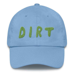 dirt shop hat made in the usa Carolina blue with green embroidery