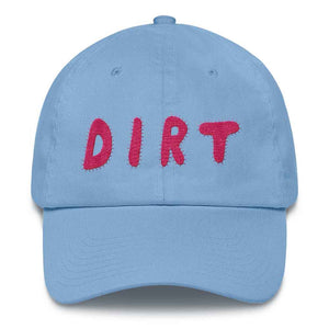 dirt shop hat made in the usa Carolina blue with pink embroidery