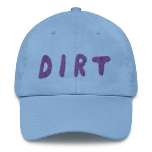dirt shop hat made in the usa Carolina blue with purple embroidery