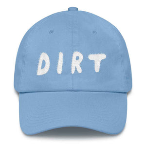 dirt shop hat made in the usa Carolina blue with white embroidery