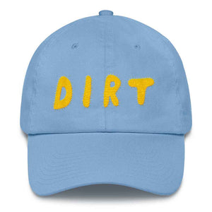 dirt shop hat made in the usa Carolina blue with yellow embroidery