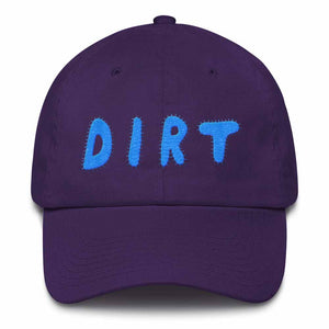dirt shop hat made in the usa purple with aqua embroidery