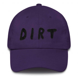 dirt shop hat made in the usa purple with black embroidery