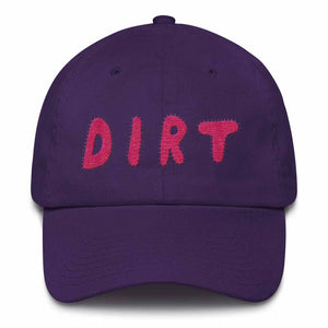 dirt shop hat made in the usa purple with pink embroidery