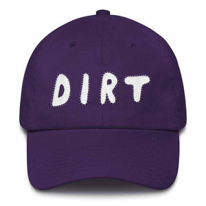 dirt shop hat made in the usa purple with white embroidery