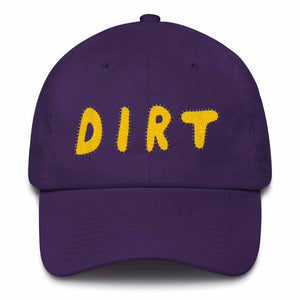 dirt shop hat made in the usa purple with yellow embroidery