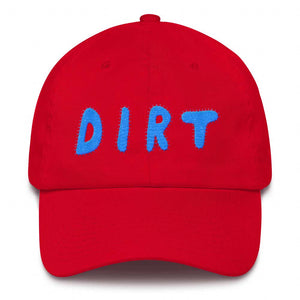 dirt shop hat made in the usa red with aqua embroidery