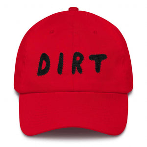 dirt shop hat made in the usa red with black embroidery