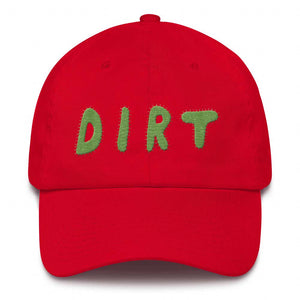 dirt shop hat made in the usa red with green embroidery