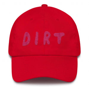 dirt shop hat made in the usa red with pink embroidery