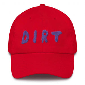 dirt shop hat made in the usa red with purple embroidery