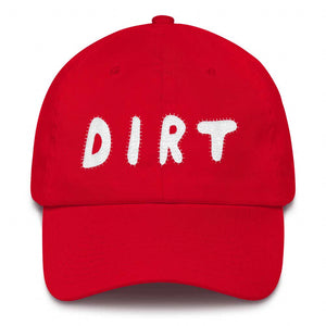 dirt shop hat made in the usa red with white embroidery