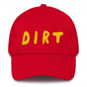 dirt shop hat made in the usa red with yellow embroidery
