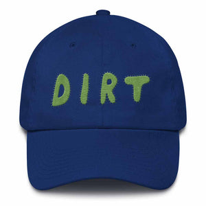 dirt shop hat made in the usa royal blue with green embroidery