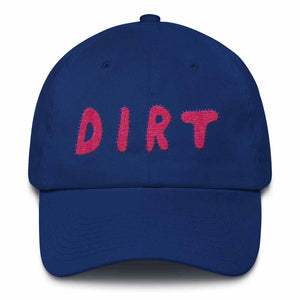dirt shop hat made in the usa royal blue with pink embroidery