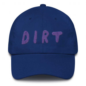 dirt shop hat made in the usa royal blue with purple embroidery