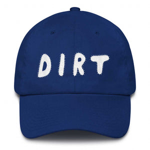 dirt shop hat made in the usa royal with white embroidery