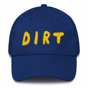 dirt shop hat made in the usa royal blue with yellow embroidery