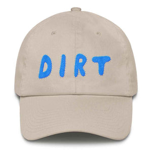 dirt shop hat made in the usa stone with aqua embroidery