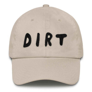 dirt shop hat made in the usa stone with black embroidery