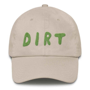 dirt shop hat made in the usa stone with green embroidery