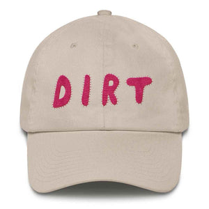dirt shop hat made in the usa stone with pink embroidery