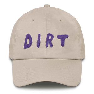 dirt shop hat made in the usa stone with purple embroidery