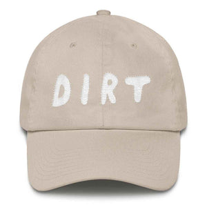 dirt shop hat made in the usa stone with white embroidery