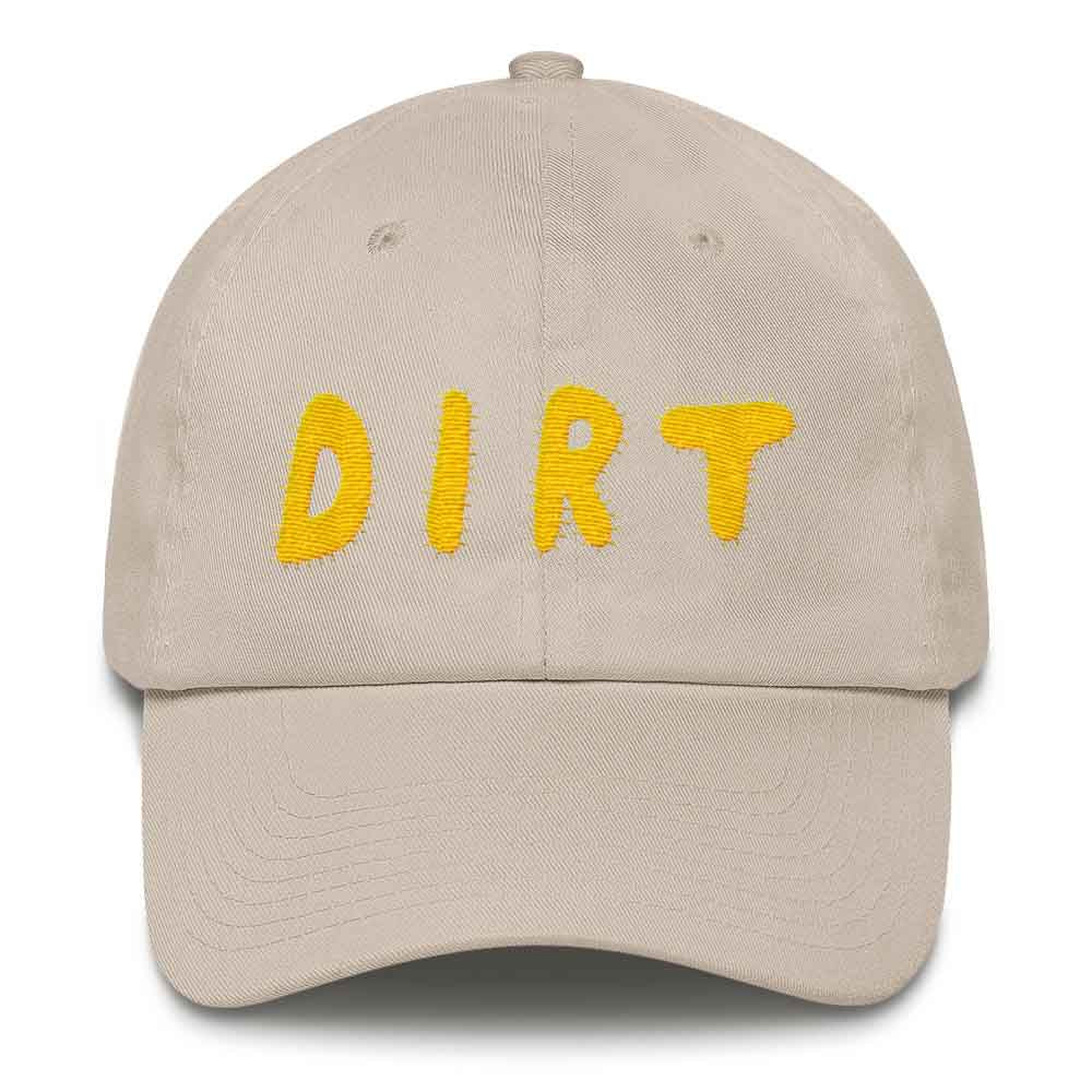 43f8b8c0e05 dirt shop hat made in the usa stone with yellow embroidery