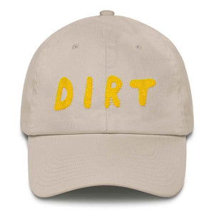 dirt shop hat made in the usa stone with yellow embroidery