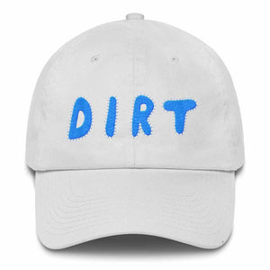 dirt shop hat made in the usa white with aqua embroidery