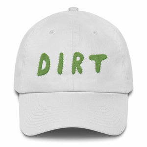 dirt shop hat made in the usa white with green embroidery