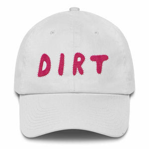 dirt shop hat made in the usa white with pink embroidery
