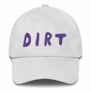 dirt shop hat made in the usa white with purple embroidery
