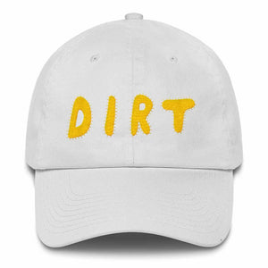 dirt shop hat made in the usa white with yellow embroidery