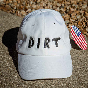 dirt shop hat made in the usa white with black embroidery