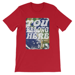 you belong here earth love dirt tee shirt red