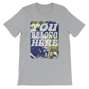 you belong here earth love dirt tee shirt silver grey