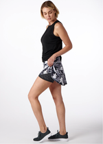 Load image into Gallery viewer, Black and White Tropical Swing Tennis Skirt