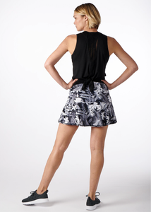Black and White Tropical Swing Tennis Skirt